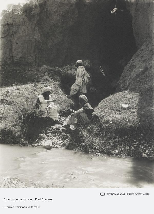Fred Bremner, 3 men in gorge by river