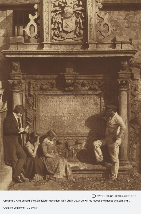 David Octavius Hill, Greyfriars' Churchyard, the Dennistoun monument with David Octavius Hill, his nieces the Misses Watson and an unknown man. Known as 'The Artist...