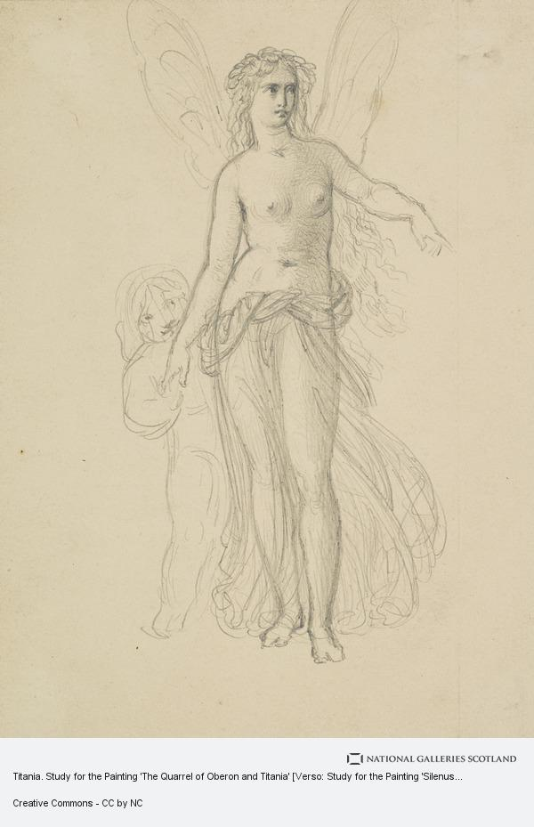 Sir Joseph Noel Paton, Titania. Study for the Painting 'The Quarrel of Oberon and Titania' [Verso: Study for the Painting 'Silenus Surprised by Aegle']