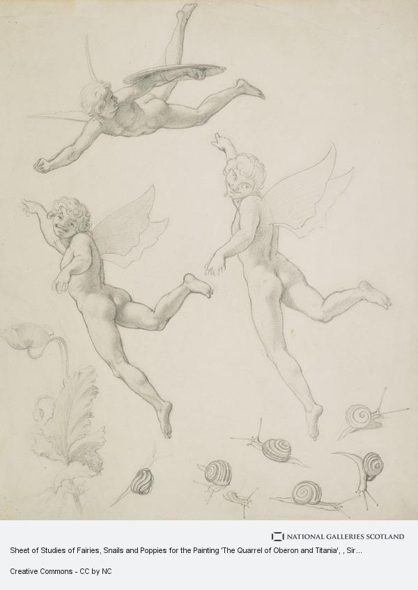 Sir Joseph Noel Paton, Sheet of Studies of Fairies, Snails and Poppies for the Painting 'The Quarrel of Oberon and Titania'