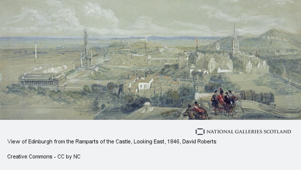 David Roberts, View of Edinburgh from the Ramparts of the Castle, Looking East