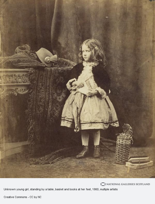 David Octavius Hill, Unknown young girl, standing by a table, basket and books at her feet