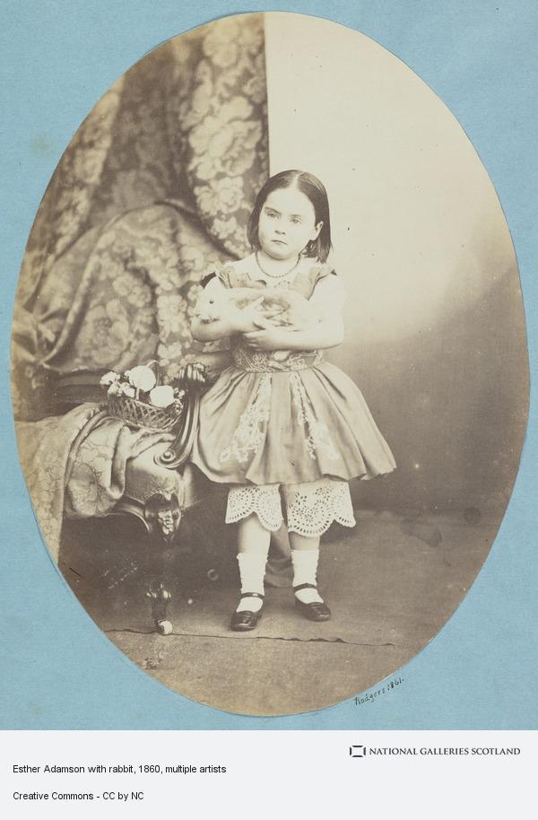 John Adamson, Esther Adamson with rabbit