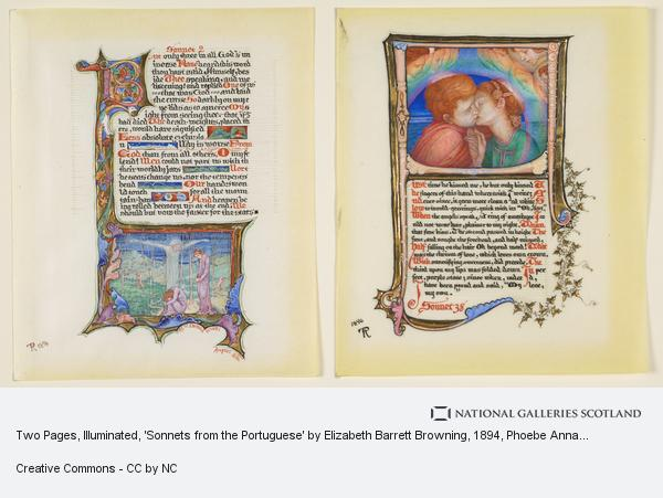 Phoebe Anna Traquair, Two Pages, Illuminated, 'Sonnets from the Portuguese' by Elizabeth Barrett Browning