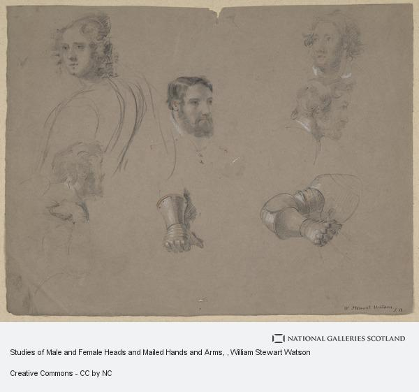 William Stewart Watson, Studies of Male and Female Heads and Mailed Hands and Arms