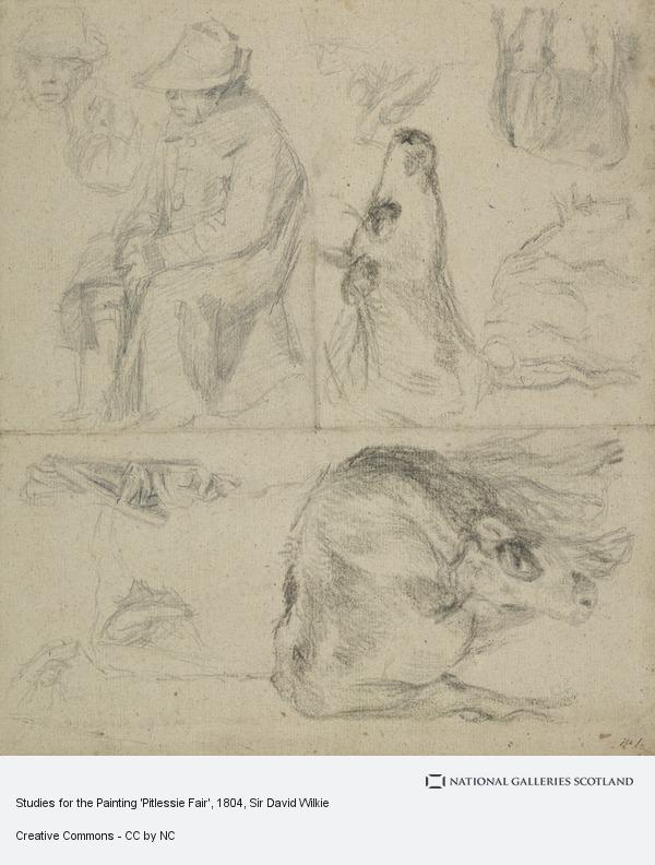 Sir David Wilkie, Studies for the Painting 'Pitlessie Fair' [Verso: Similar Study] (About 1804)