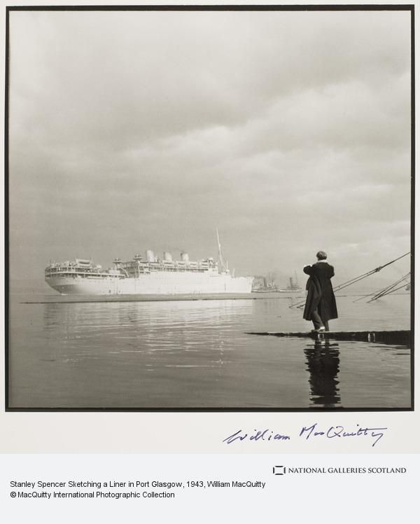 William MacQuitty, Stanley Spencer Sketching a Liner in Port Glasgow