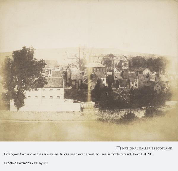 David Octavius Hill, Linlithgow from above the railway line, trucks seen over a wall, houses in middle ground, Town Hall, St Michael's Church and Palace behind ...