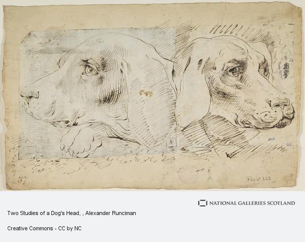 Alexander Runciman, Two Studies of a Dog's Head