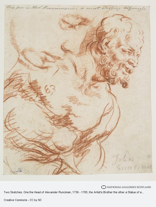 John Runciman, Two Sketches. One the Head of Alexander Runciman, 1736 - 1785, the Artist's Brother the other a Statue of a Satyr