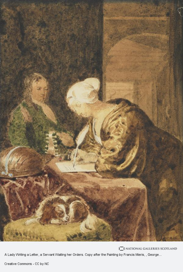 A Lady Writing a Letter a Servant Waiting her Orders Copy after