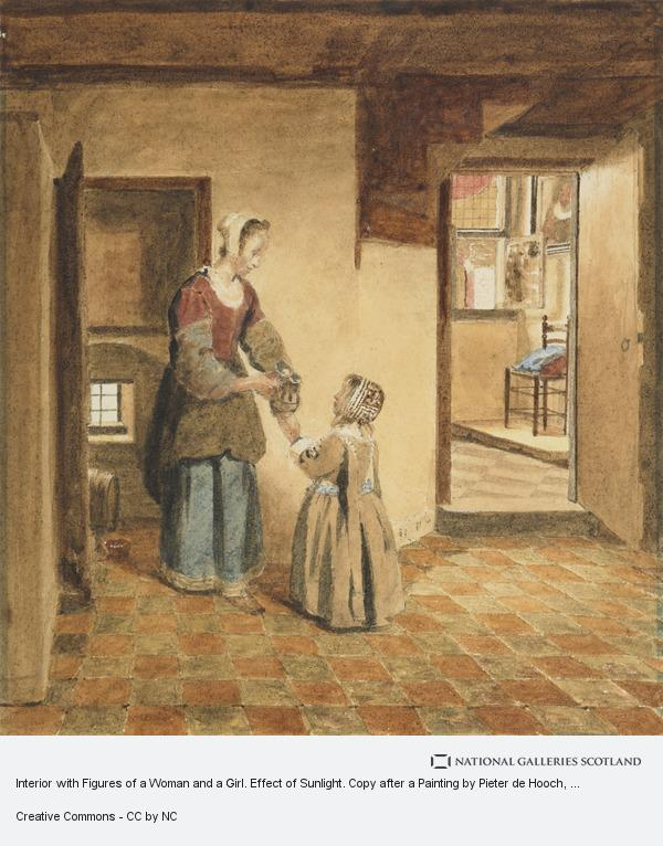 Interior With Figures Of A Woman And A Girl Effect Of Sunlight