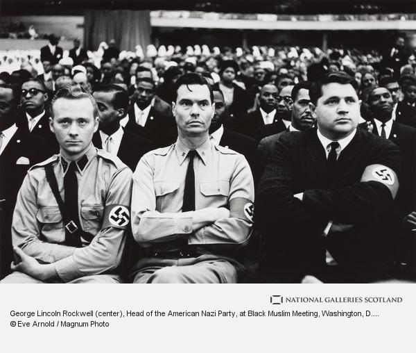 Eve Arnold, George Lincoln Rockwell (center), Head of the American Nazi Party, at Black Muslim Meeting, Washington, D. C.