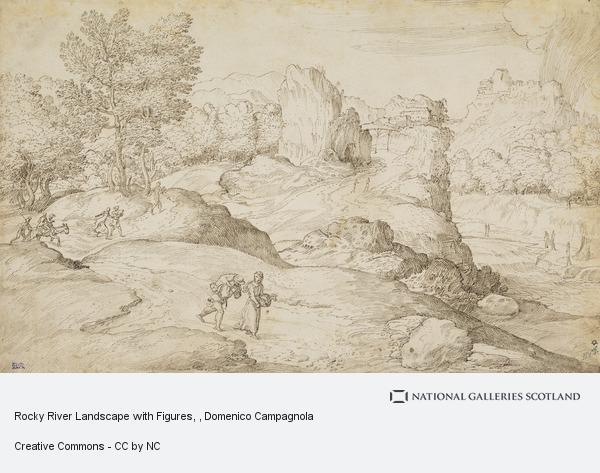 Domenico Campagnola, Rocky River Landscape with Figures