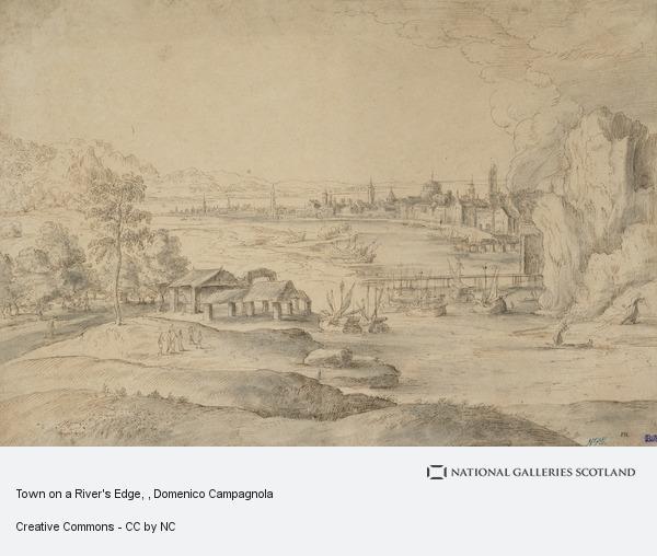 Domenico Campagnola, Town on a River's Edge