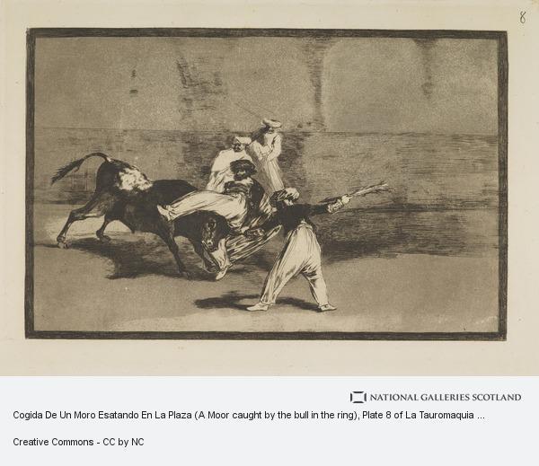 Francisco de Goya y Lucientes, Cogida De Un Moro Esatando En La Plaza (A Moor caught by the bull in the ring), Plate 8 of La Tauromaquia (Harris No. 211 III)