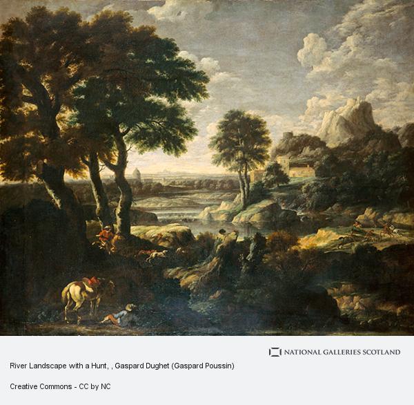 Gaspard Dughet (Gaspard Poussin), River Landscape with a Hunt