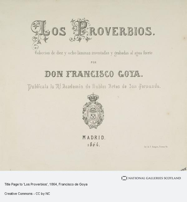 Francisco de Goya y Lucientes, Title Page to 'Los Proverbios'
