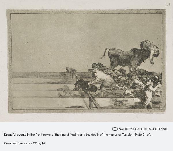 Francisco de Goya y Lucientes, Dreadful events in the front rows of the ring at Madrid and the death of the mayor of Torrejón, Plate 21 of La Tauromaquia