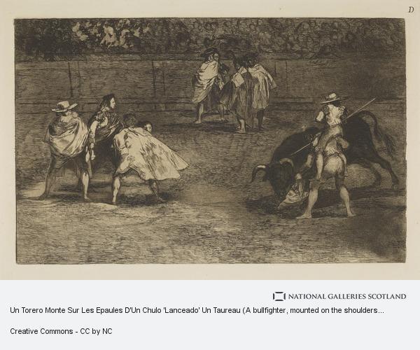 Francisco de Goya, Un Torero Monte Sur Les Epaules D'Un Chulo 'Lanceado' Un Taureau (A bullfighter, mounted on the shoulders of an assistant, spearing a bull),...