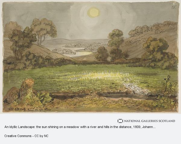 Johann Wilhelm Tischbein, An Idyllic Landscape: the sun shining on a meadow with a river and hills in the distance
