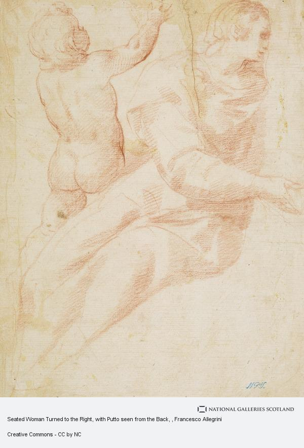 Francesco Allegrini, Seated Woman Turned to the Right, with Putto seen from the Back