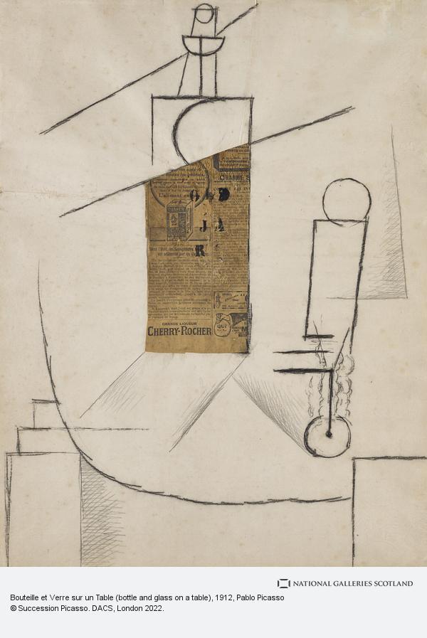Pablo Picasso, Bouteille et Verre sur un Table (bottle and glass on a table)