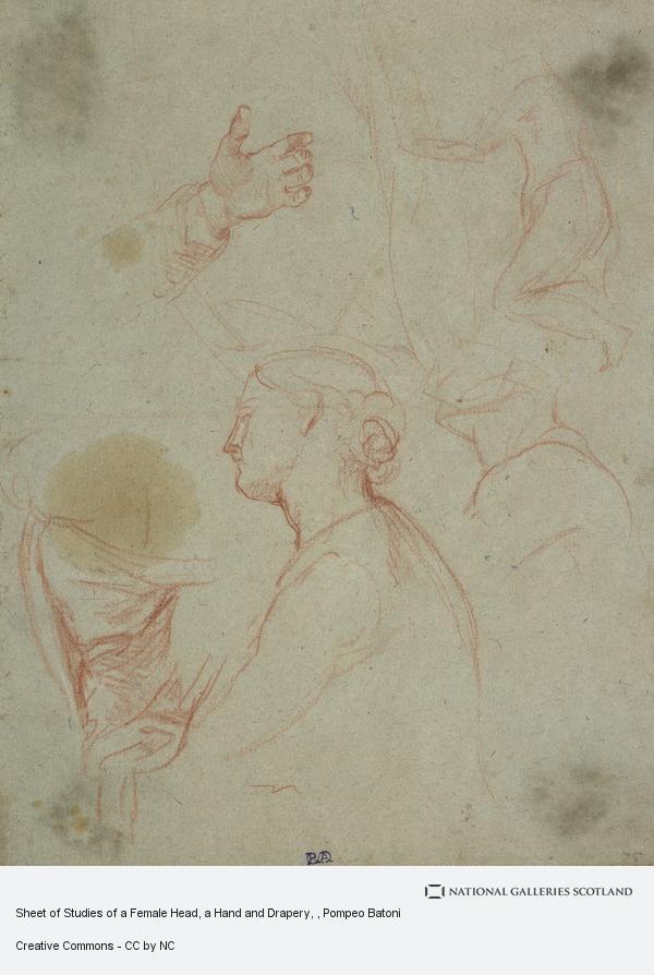 Pompeo Girolamo Batoni, Sheet of Studies of a Female Head, a Hand and Drapery