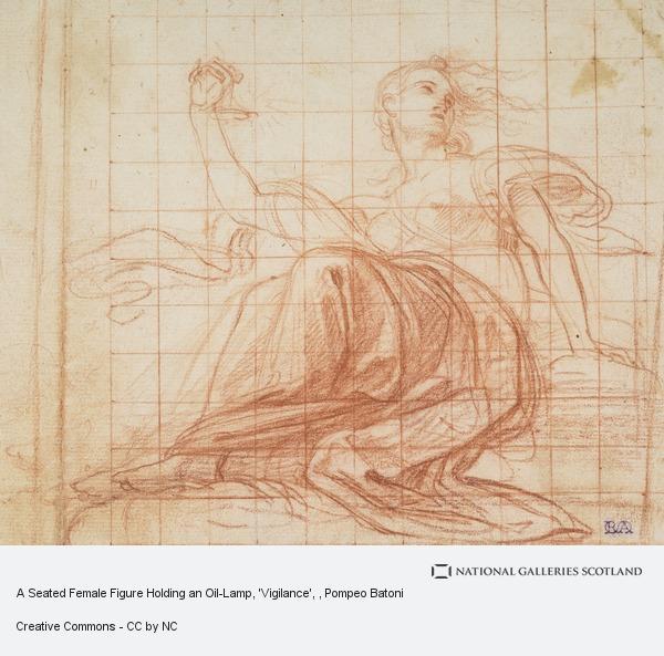 Pompeo Batoni, A Seated Female Figure Holding an Oil-Lamp, 'Vigilance'