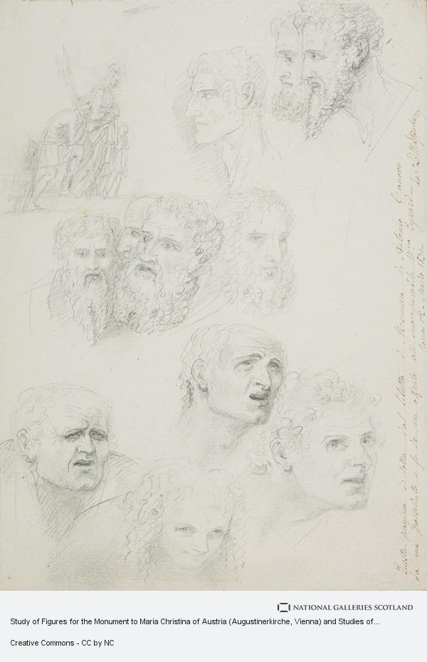 Antonio Canova, Study of Figures for the Monument to Maria Christina of Austria (Augustinerkirche, Vienna) and Studies of Heads