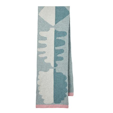 100% lambswool blue and grey fern pattern wide scarf