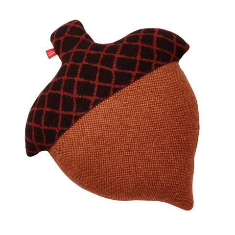 100% lambswool knitted acorn shaped brown cushion