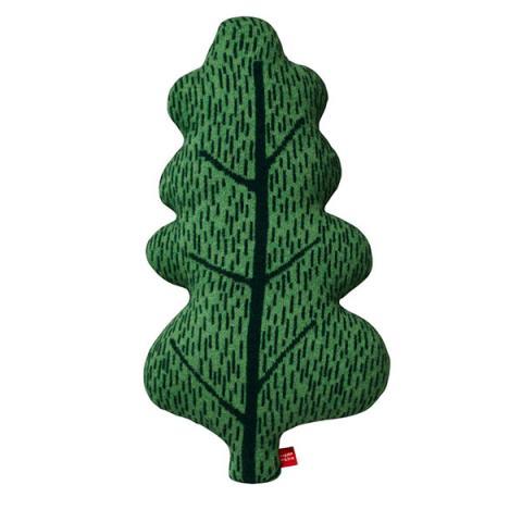 100% lambswool knitted oak leaf shaped green cushion