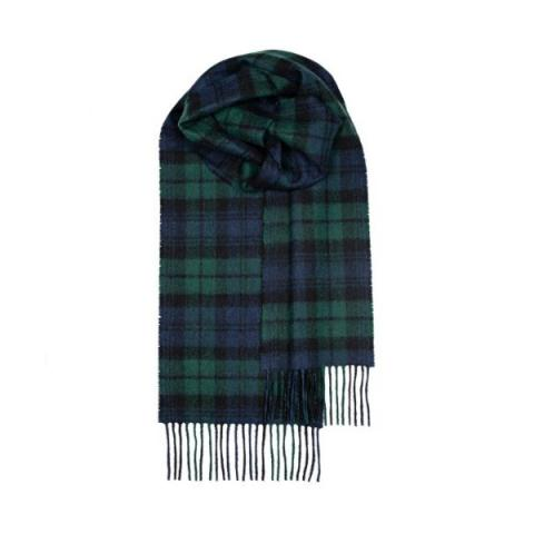100% pure lambs wool black watch tartan scarf