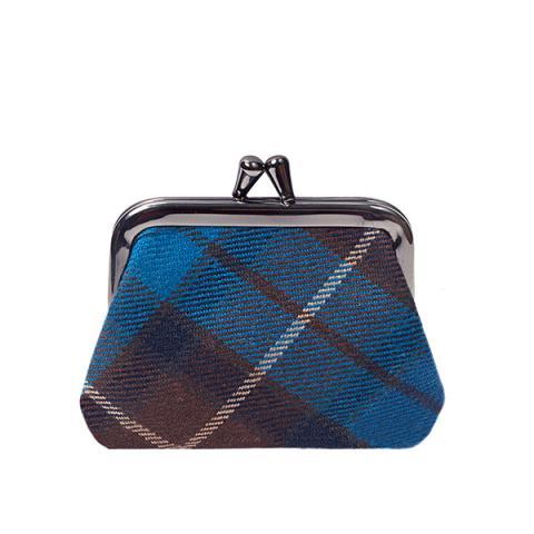 100% pure lambswool Buchanan blue tartan coin purse