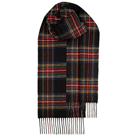 100% pure lambswool Stewart Black Modern tartan scarf