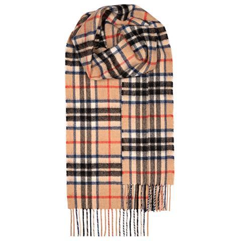 100% pure lambswool modern Thomson Camel tartan scarf