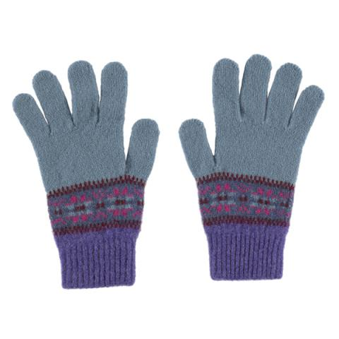 100% pure new wool Islay stripe pattern lilac and blue gloves
