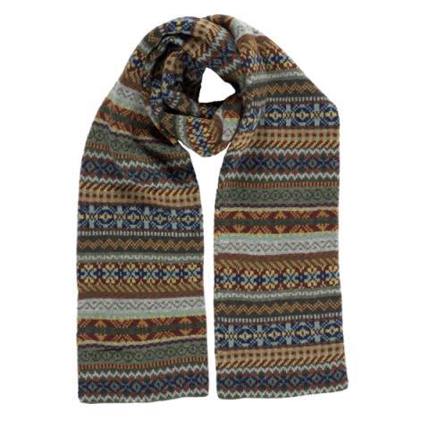 100% pure new wool Lorimer stripe pattern green scarf
