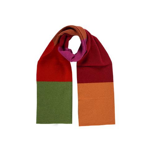100% pure new wool block stripe pattern Hedgerow scarf