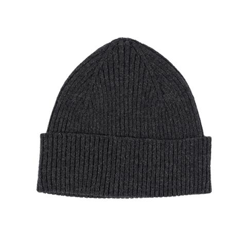 100% pure new wool dark grey knitted beanie hat