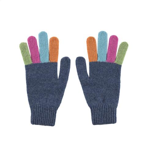 100% pure new wool grey with multi coloured fingers gloves