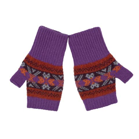100% pure new wool may sundance purple and orange pattern Green Grove mittens