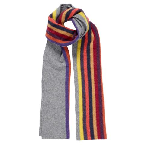 100% pure new wool Morris Storm grey stripe scarf