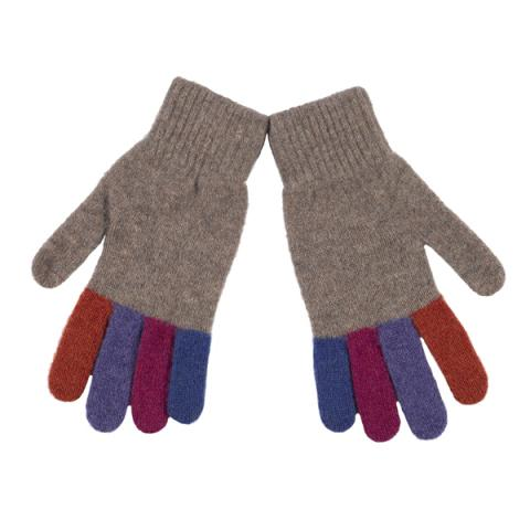 100% pure new wool natural and colour finger gloves
