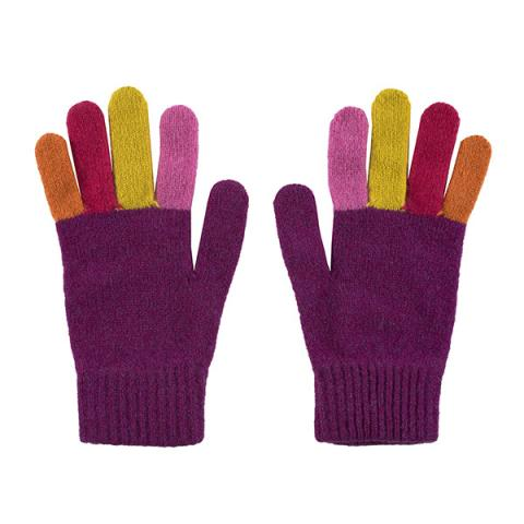 100% pure new wool pink with multi coloured fingers gloves