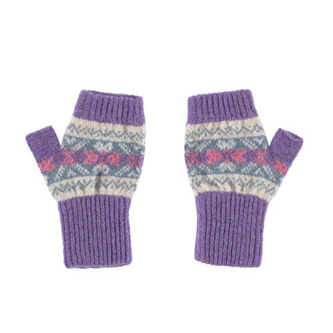 100% pure new wool sweetpea lilac, pink and cream mittens