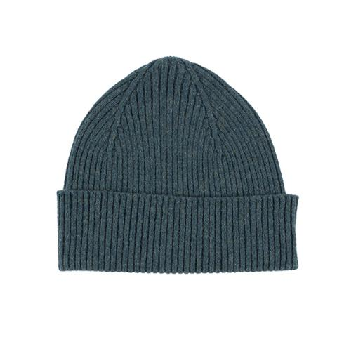 100% pure new wool teal knitted beanie hat