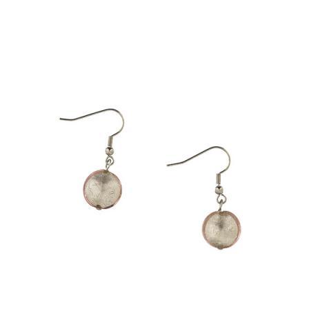 Murano glass pale pink smartie drop earrings