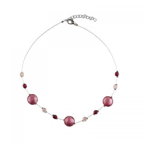 Murano glass dark pink smartie necklace